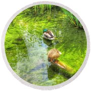 Round Beach Towel featuring the pyrography Ducks In The Pond by Yury Bashkin