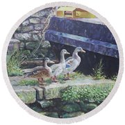 Round Beach Towel featuring the painting Ducks On Dockside by Martin Davey