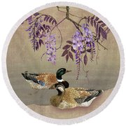 Ducks Under Wisteria Tree Round Beach Towel