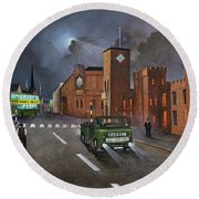 Round Beach Towel featuring the painting Dudley, Capital Of The Black Country by Ken Wood