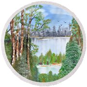 Dueling Lakes Round Beach Towel