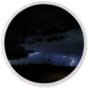 Dueling Lightning Bolts Round Beach Towel