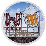 Duff Beer Sign Round Beach Towel
