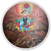 Round Beach Towel featuring the painting Duke At Sunset by Marie Schwarzer
