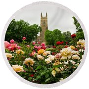 Duke Chapel And Roses Round Beach Towel