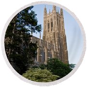 Duke Chapel Side View Round Beach Towel