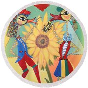 Round Beach Towel featuring the painting Duke Have A Honey-bee by Marie Schwarzer