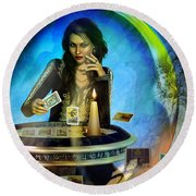 Round Beach Towel featuring the digital art Dukkerin' ... Fortune Teller by Shadowlea Is