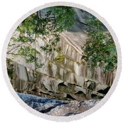 Round Beach Towel featuring the photograph Dummerston Quarry by Tom Singleton