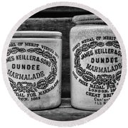 Dundee Marmalade Country Kitchen Black And White Round Beach Towel