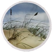 Dune And Beach Grass Round Beach Towel by Randall Nyhof