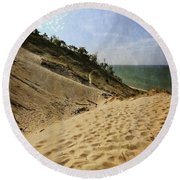 Round Beach Towel featuring the photograph Dune And Blue Sky 2.0 by Michelle Calkins