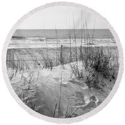 Dune - Black And White Round Beach Towel