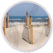 Dune Fence Landscape Round Beach Towel