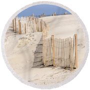 Dune Fence Portrait Round Beach Towel
