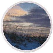 Dune Grass Blue Round Beach Towel