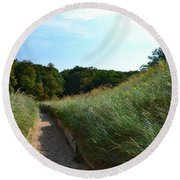 Round Beach Towel featuring the photograph Dune Path At Laketown by Michelle Calkins