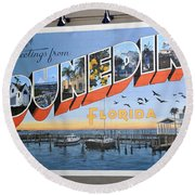 Dunedin Florida Post Card Round Beach Towel