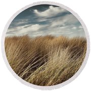 Dunes And Clouds Round Beach Towel