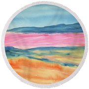 Round Beach Towel featuring the painting Dunes by Ellen Levinson