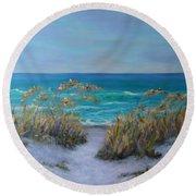 Dunes Path Ocean Painting Part 1 Round Beach Towel