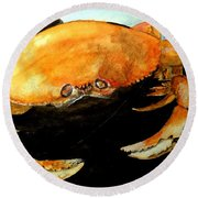 Dungeness For Dinner Round Beach Towel by Carol Grimes