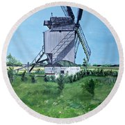 Dunkerque Windmill North Of France Round Beach Towel