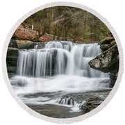 Dunloup Creek Falls Round Beach Towel