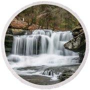 Dunloup Creek Falls Round Beach Towel