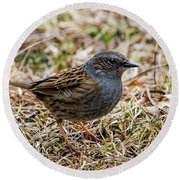 Round Beach Towel featuring the photograph Dunnock by Torbjorn Swenelius