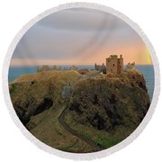 Dunnottar Castle Sunset Rainbow Round Beach Towel