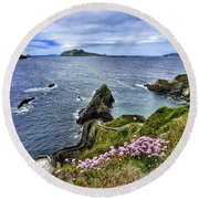 Dunquin Flowers  Round Beach Towel