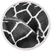 Duo Giraffe Pattern Bw Round Beach Towel