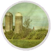 Round Beach Towel featuring the photograph Duo Silos  by Betty Pauwels