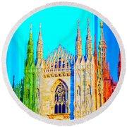 Duomo Di Milano Round Beach Towel