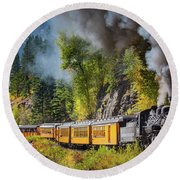 Durango-silverton Narrow Gauge Railroad Round Beach Towel