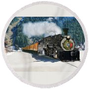 Durango To Silverton Train Round Beach Towel