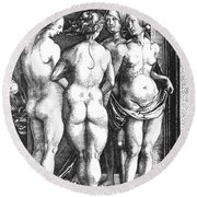 Durer Four Witches, 1497. For Licensing Requests Visit Granger.com Round Beach Towel