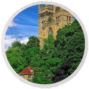 Durham Cathedral And Wool Mill Round Beach Towel