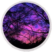 Dusk And Nature Intertwine Round Beach Towel