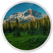 Dusk At Indian Henry Campground Round Beach Towel