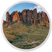 Dusk At Lost Dutchman Round Beach Towel by Greg Nyquist