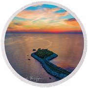 Dusk At The Knob Round Beach Towel