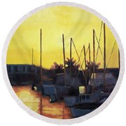 Dusk At The Marina Round Beach Towel