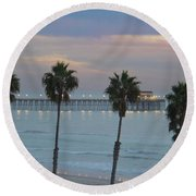 Dusk At The Pier Round Beach Towel by Suzanne Oesterling