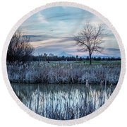 Dusk At The Pond Round Beach Towel