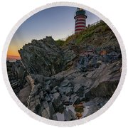 Round Beach Towel featuring the photograph Dusk At West Quoddy Head Lighthouse by Rick Berk