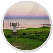 Dusk At Battle Point, Accomac, Virginia Round Beach Towel