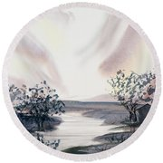 Dusk Creeping Up The River Round Beach Towel