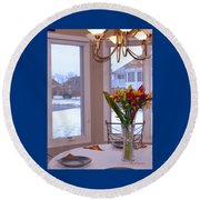 Dusk Dining View Round Beach Towel